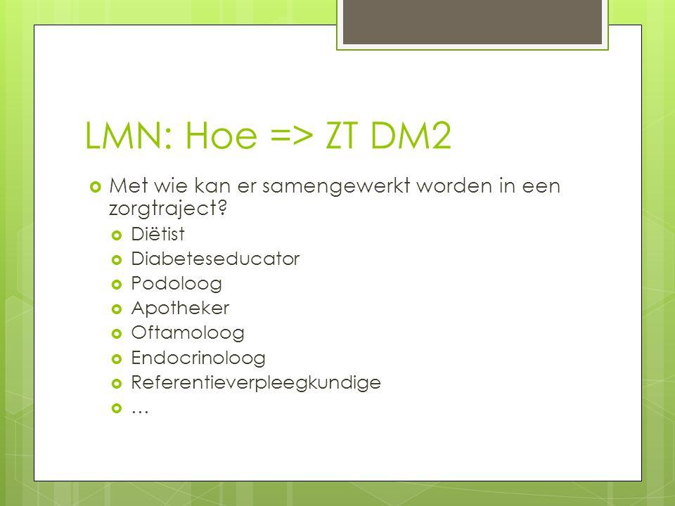 LMN: Hoe => ZT DM2 Met wie kan er samengewerkt worden in een zorgtraject Diëtist. Diabeteseducator.