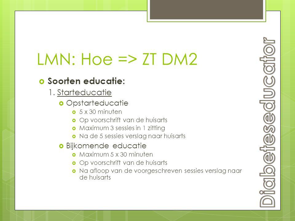 Diabeteseducator LMN: Hoe => ZT DM2 Soorten educatie: