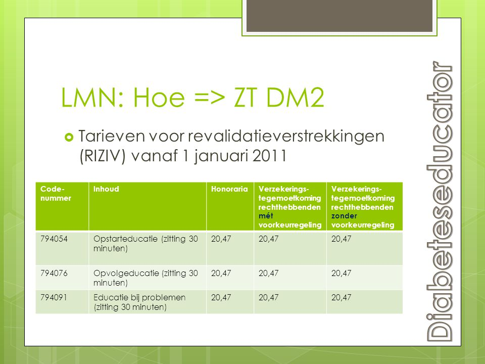 Diabeteseducator LMN: Hoe => ZT DM2