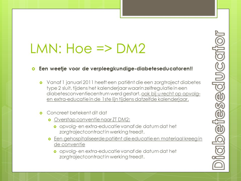 Diabeteseducator LMN: Hoe => DM2