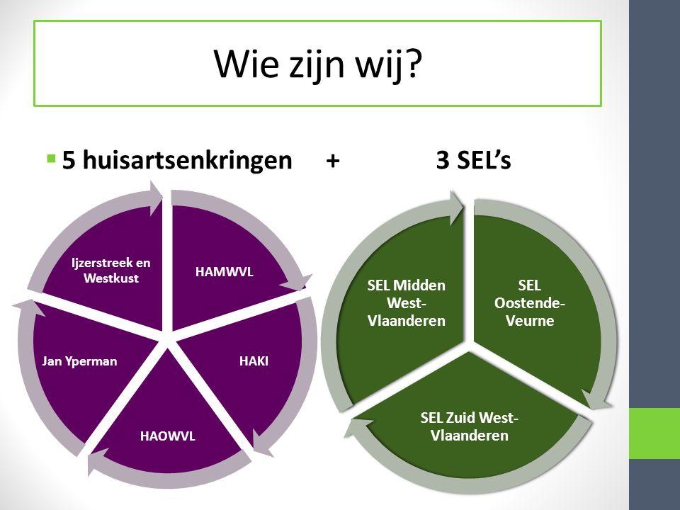 Wie zijn wij 5 huisartsenkringen + 3 SEL's SEL Oostende-Veurne