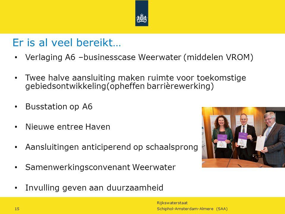 Er is al veel bereikt… Verlaging A6 –businesscase Weerwater (middelen VROM)
