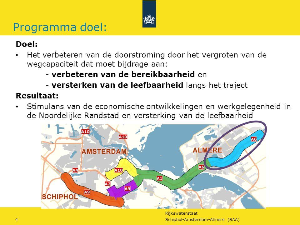 Programma doel: Doel: Het verbeteren van de doorstroming door het vergroten van de wegcapaciteit dat moet bijdrage aan: