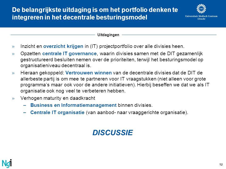De belangrijkste uitdaging is om het portfolio denken te integreren in het decentrale besturingsmodel