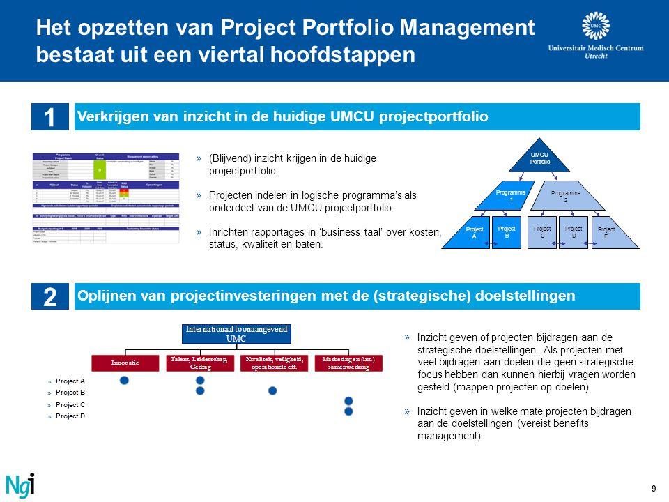 Het opzetten van Project Portfolio Management bestaat uit een viertal hoofdstappen