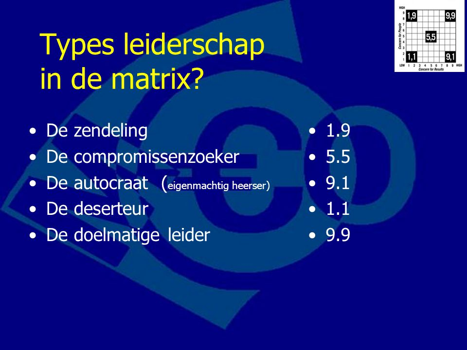 Types leiderschap in de matrix