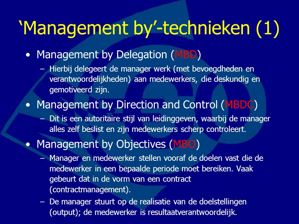 'Management by'-technieken (1)
