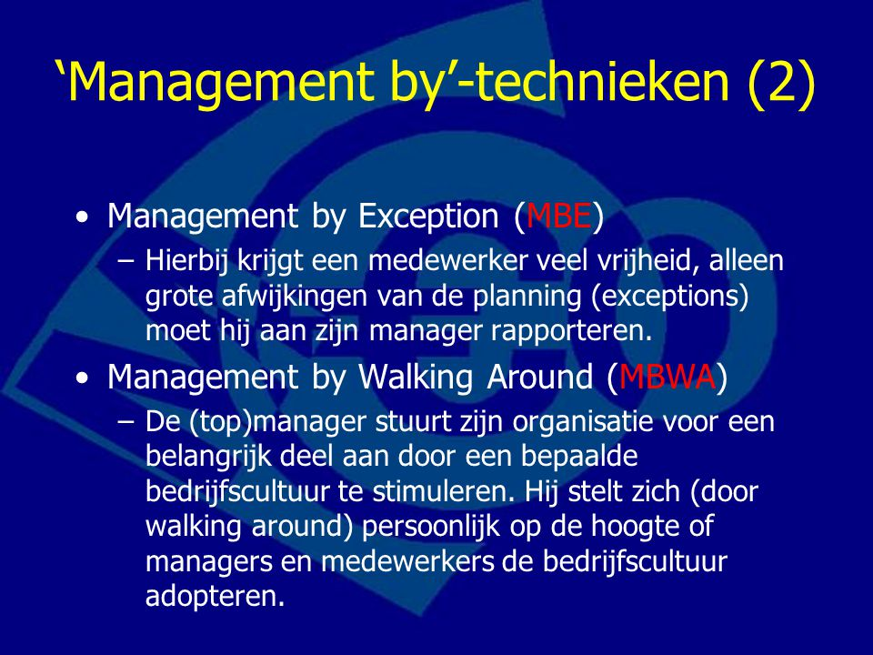 'Management by'-technieken (2)