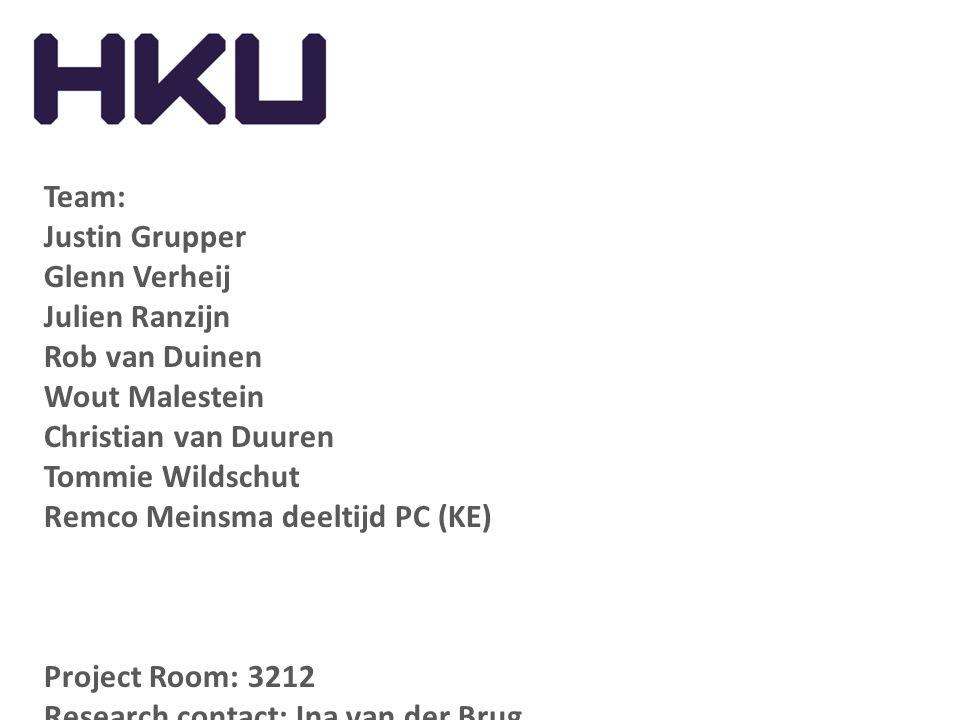 Team: Justin Grupper. Glenn Verheij. Julien Ranzijn. Rob van Duinen. Wout Malestein. Christian van Duuren.