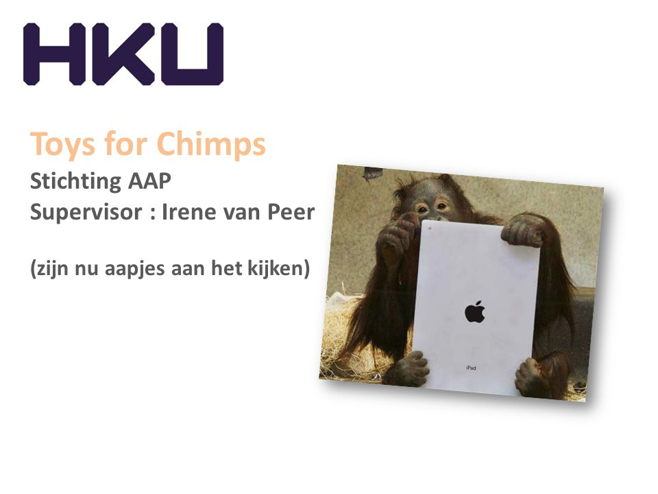 Toys for Chimps Stichting AAP Supervisor : Irene van Peer