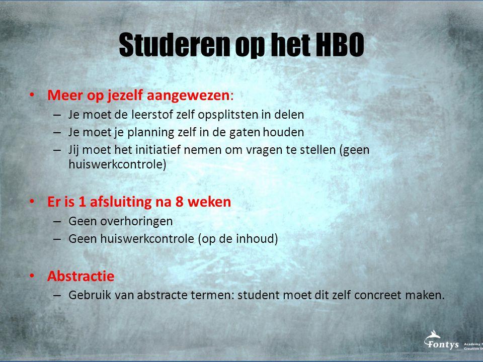 Studeren op het HBO Meer op jezelf aangewezen: