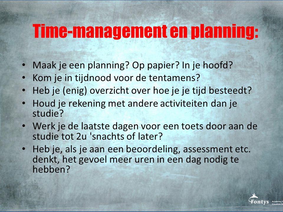 Time-management en planning: