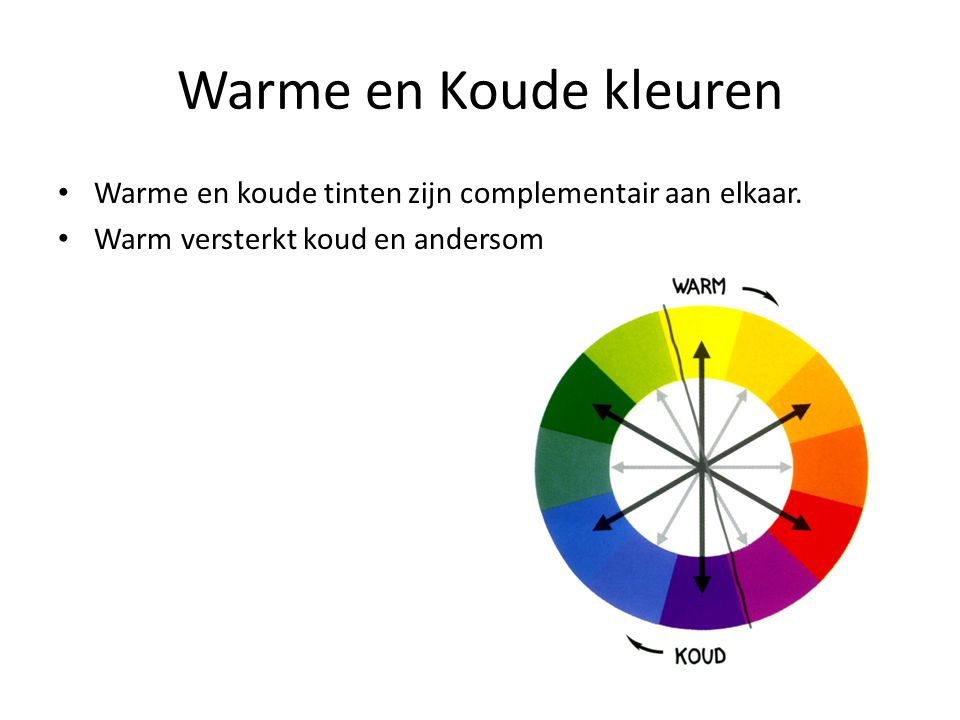 Warme en Koude kleuren Warme en koude tinten zijn complementair aan elkaar.