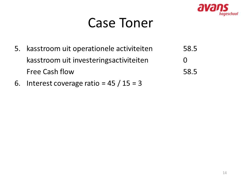Case Toner kasstroom uit operationele activiteiten 58.5