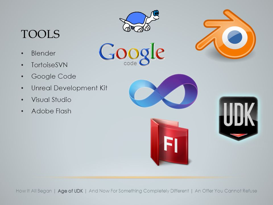 Tools Blender TortoiseSVN Google Code Unreal Development Kit