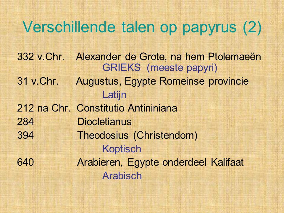 Verschillende talen op papyrus (2)