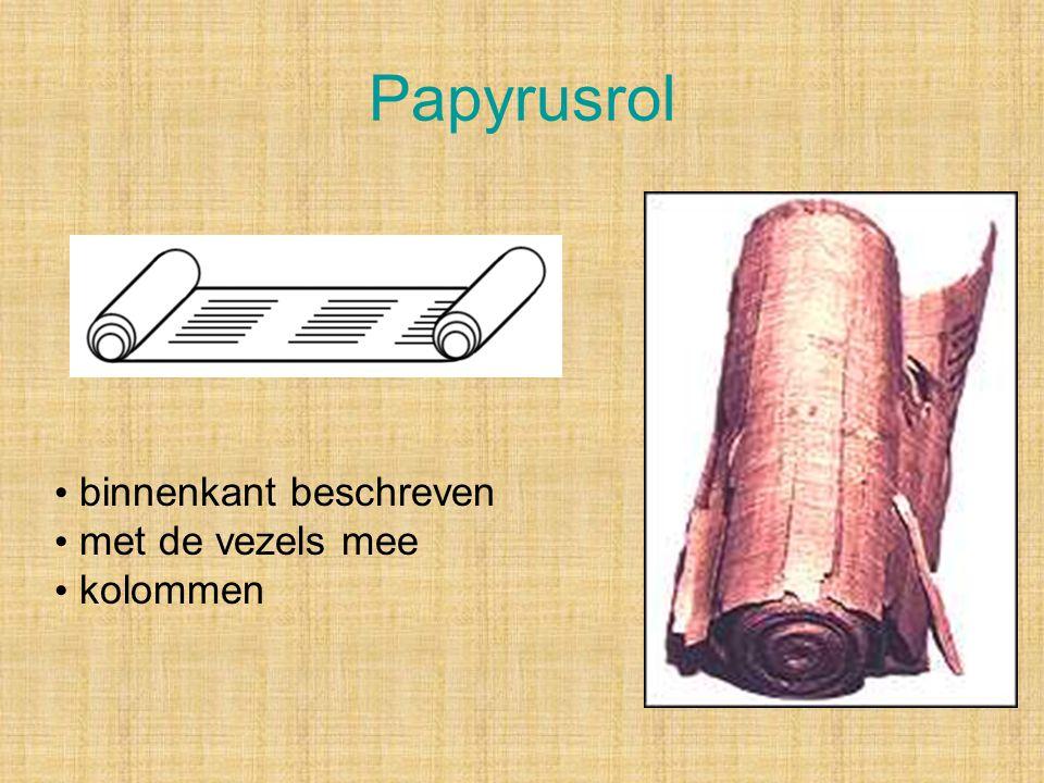 Papyrusrol binnenkant beschreven met de vezels mee kolommen