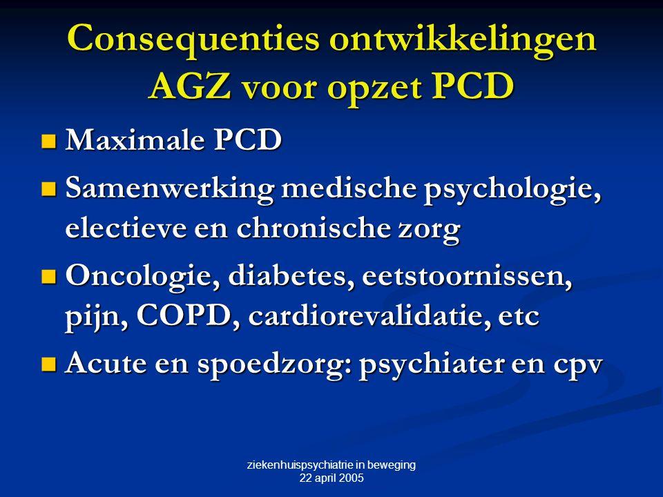 Consequenties ontwikkelingen AGZ voor opzet PCD
