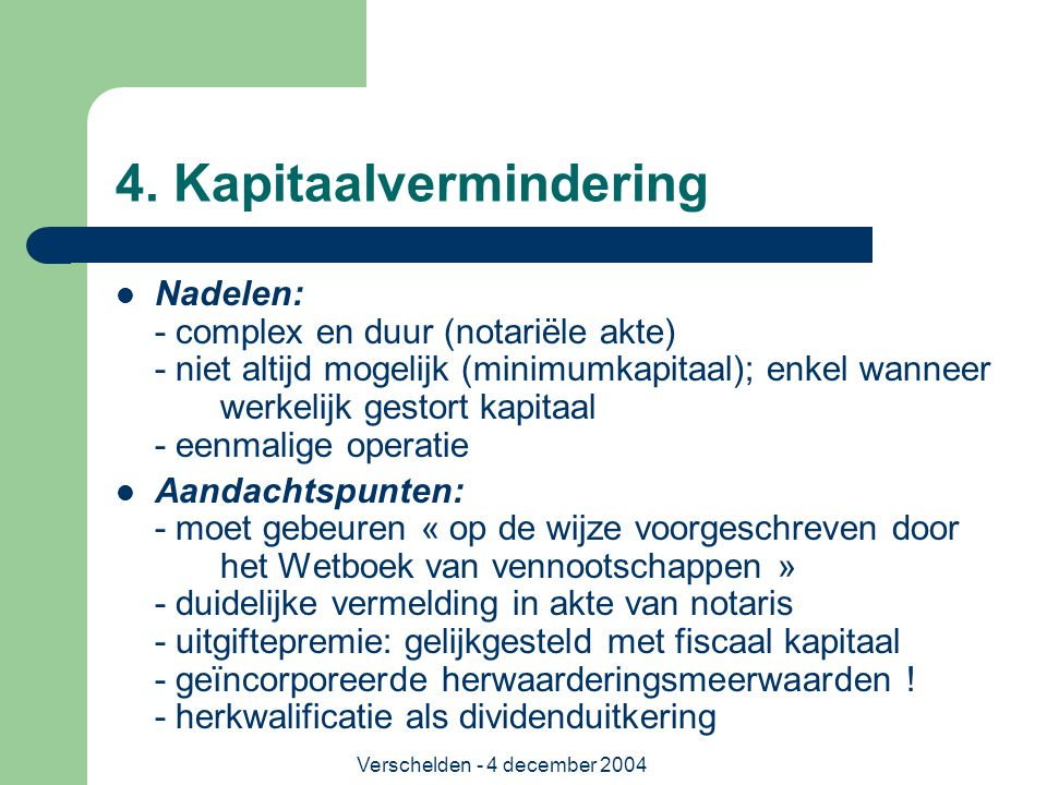 4. Kapitaalvermindering
