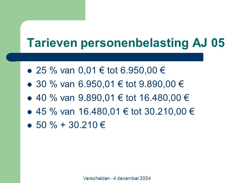 Tarieven personenbelasting AJ 05