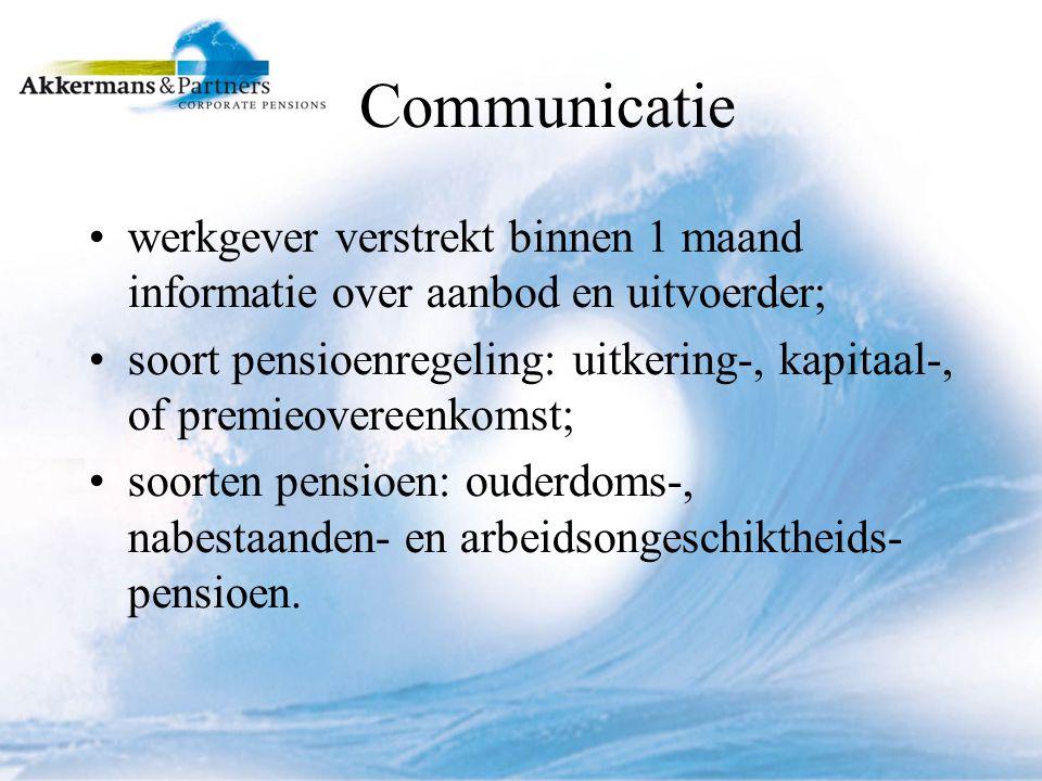 Communicatie werkgever verstrekt binnen 1 maand informatie over aanbod en uitvoerder;