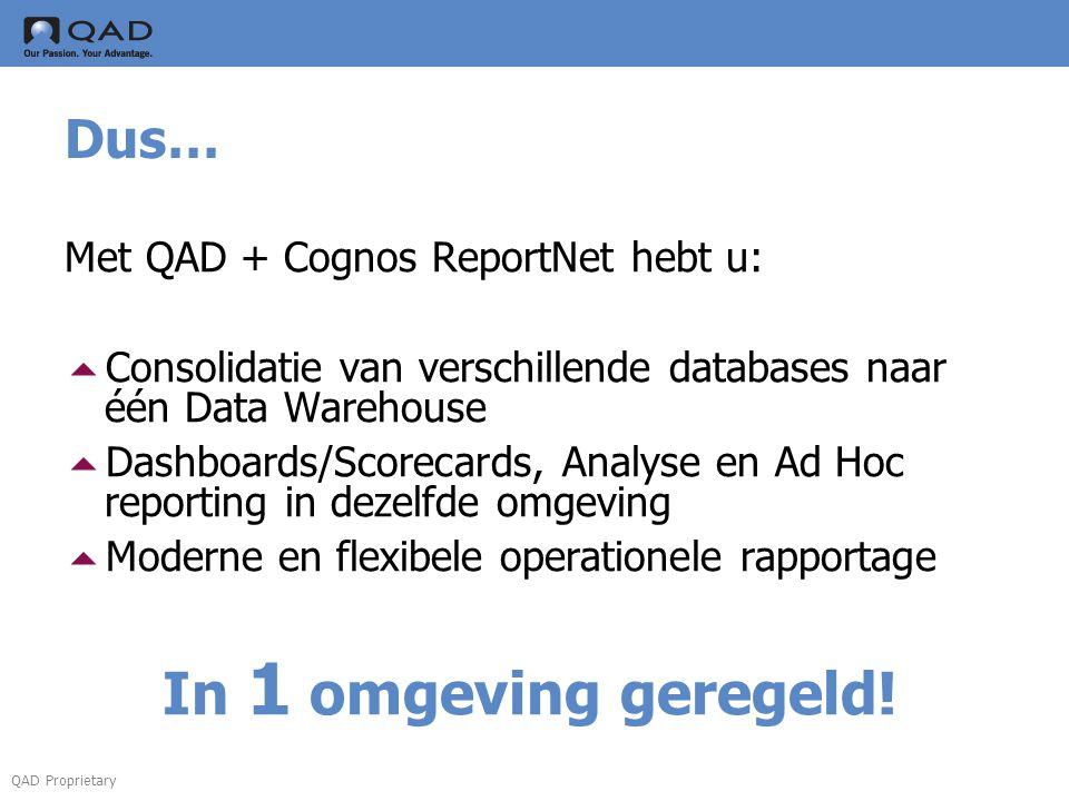 In 1 omgeving geregeld! Dus… Met QAD + Cognos ReportNet hebt u: