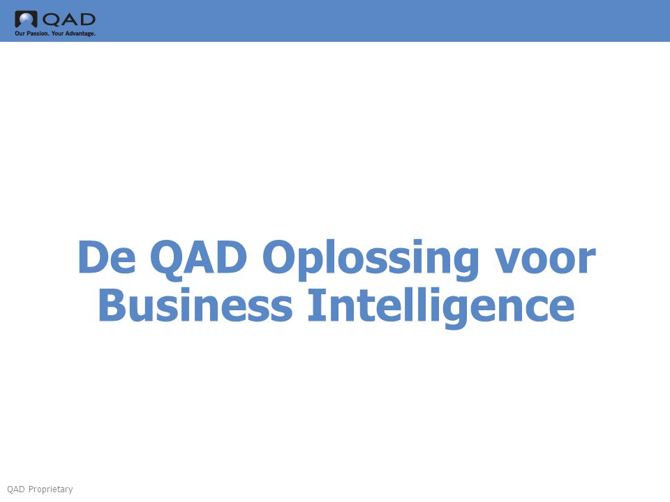 De QAD Oplossing voor Business Intelligence
