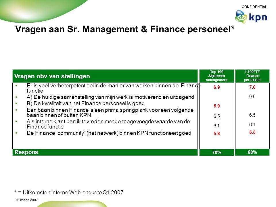 Vragen aan Sr. Management & Finance personeel*