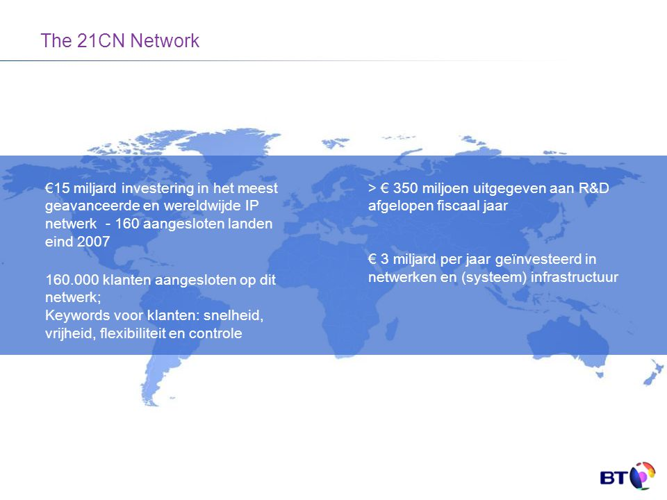 The 21CN Network €15 miljard investering in het meest geavanceerde en wereldwijde IP netwerk - 160 aangesloten landen eind 2007.