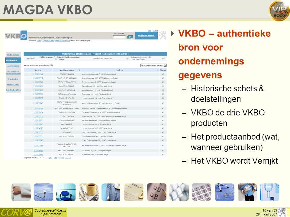 MAGDA VKBO VKBO – authentieke bron voor ondernemings gegevens