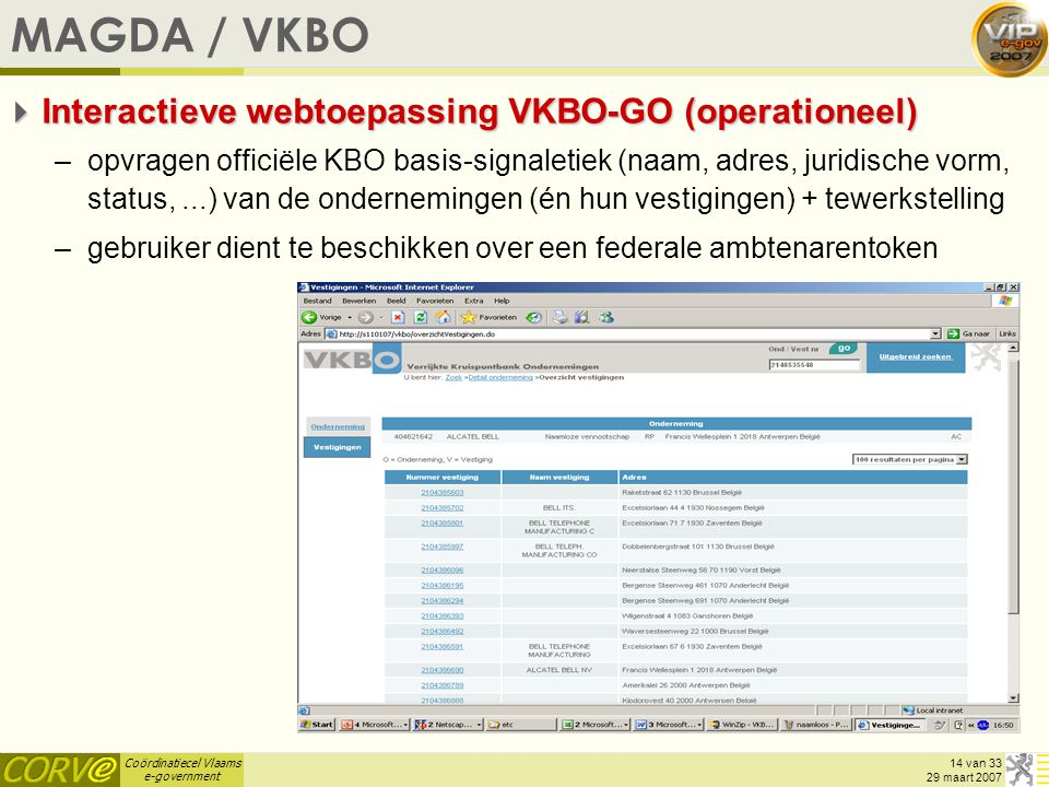 MAGDA / VKBO Interactieve webtoepassing VKBO-GO (operationeel)