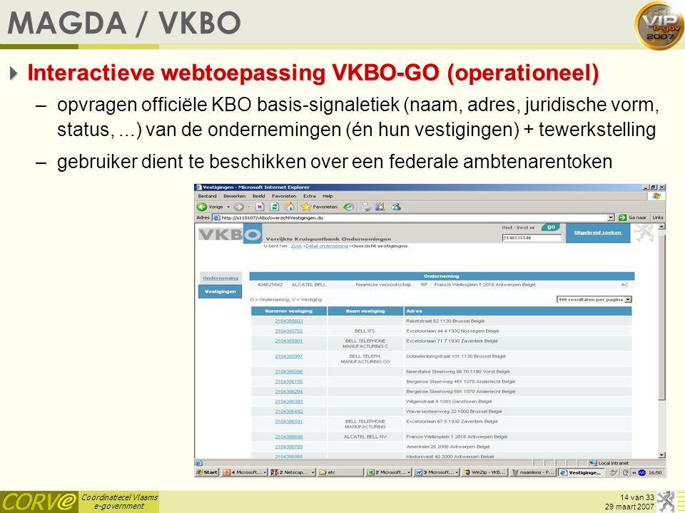 MAGDA / VKBO Interactieve webtoepassing VKBO-GO (operationeel)