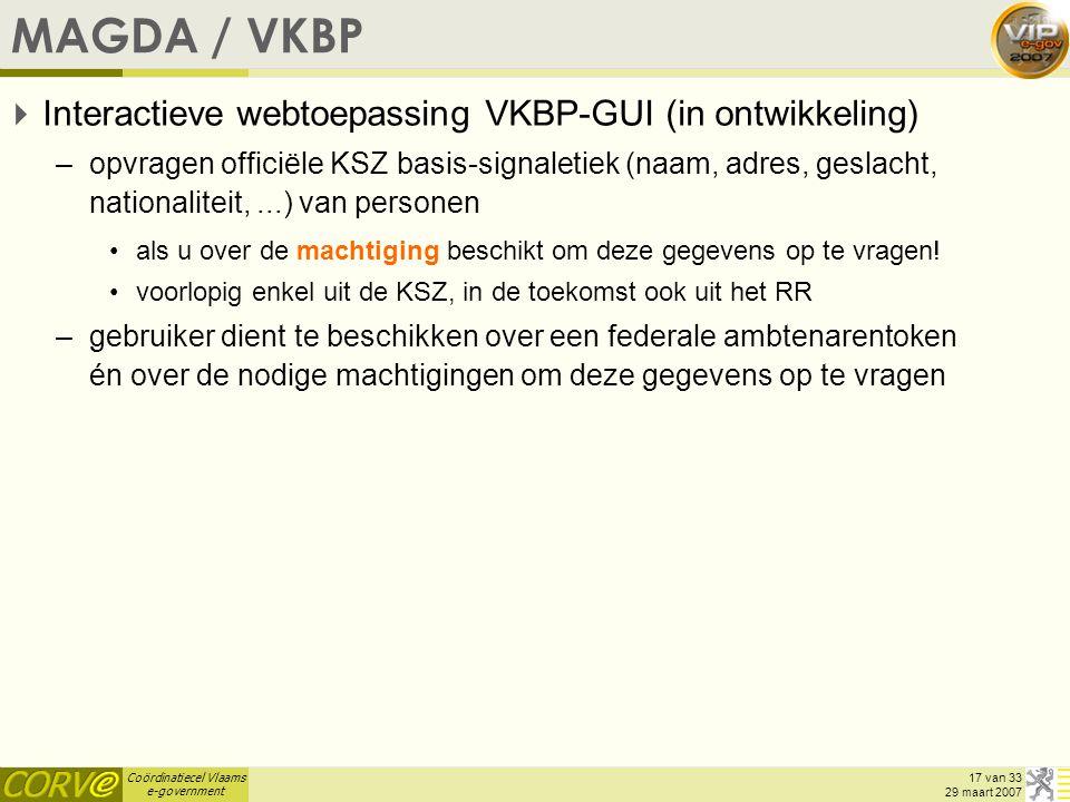 MAGDA / VKBP Interactieve webtoepassing VKBP-GUI (in ontwikkeling)