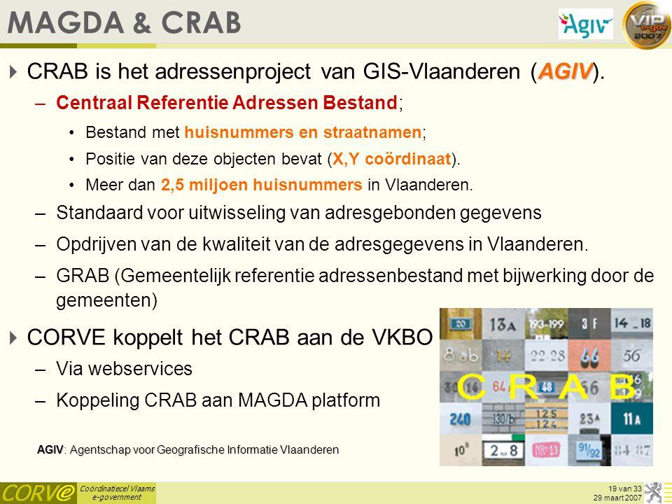 MAGDA & CRAB CRAB is het adressenproject van GIS-Vlaanderen (AGIV).