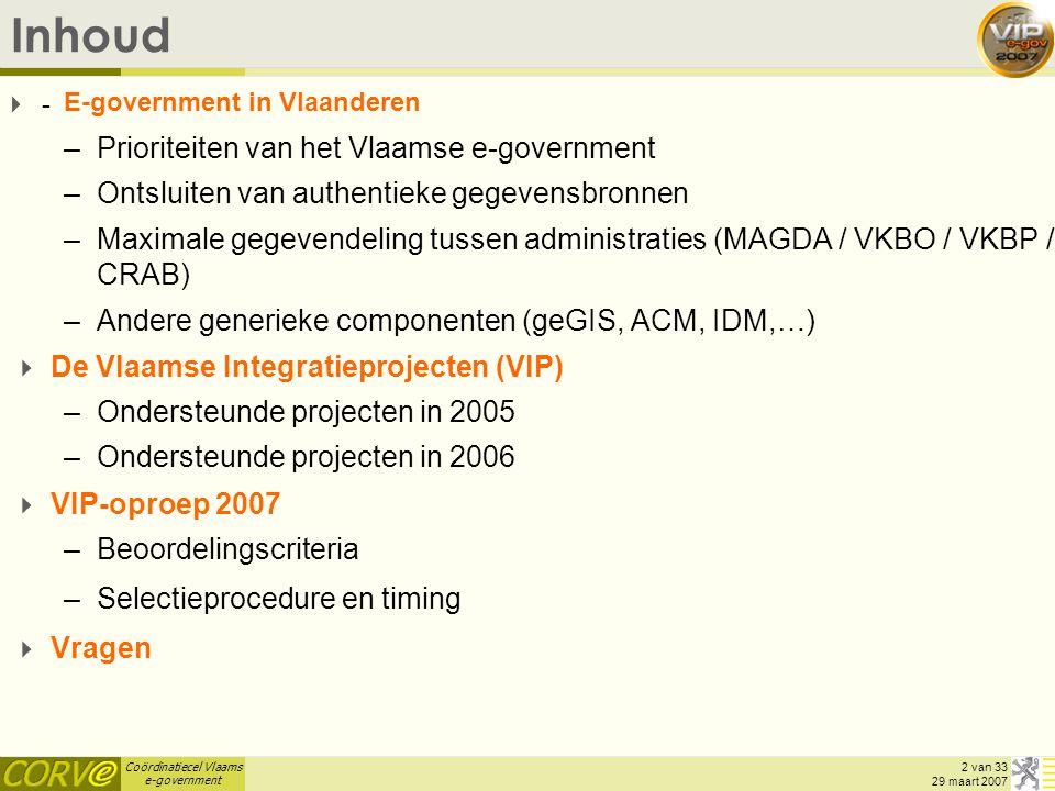 Inhoud Prioriteiten van het Vlaamse e-government