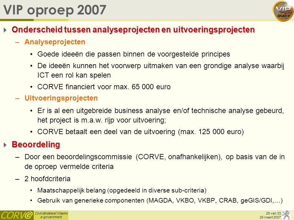 VIP oproep 2007 Onderscheid tussen analyseprojecten en uitvoeringsprojecten. Analyseprojecten.