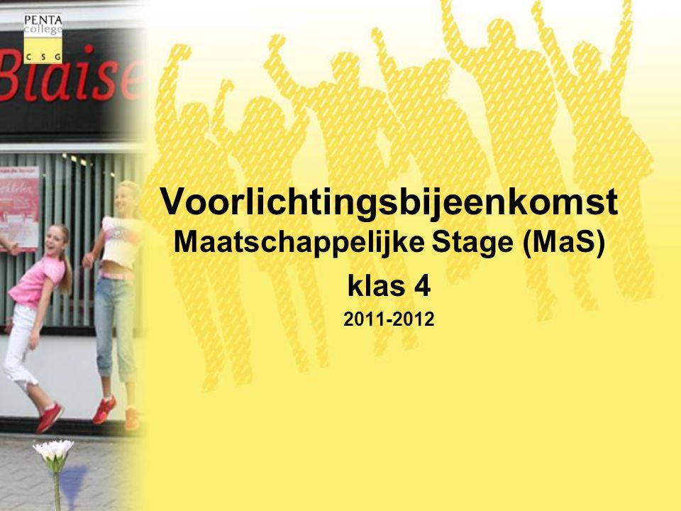 Voorlichtingsbijeenkomst Maatschappelijke Stage (MaS)