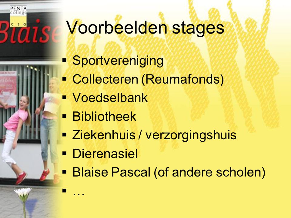 Voorbeelden stages Sportvereniging Collecteren (Reumafonds)
