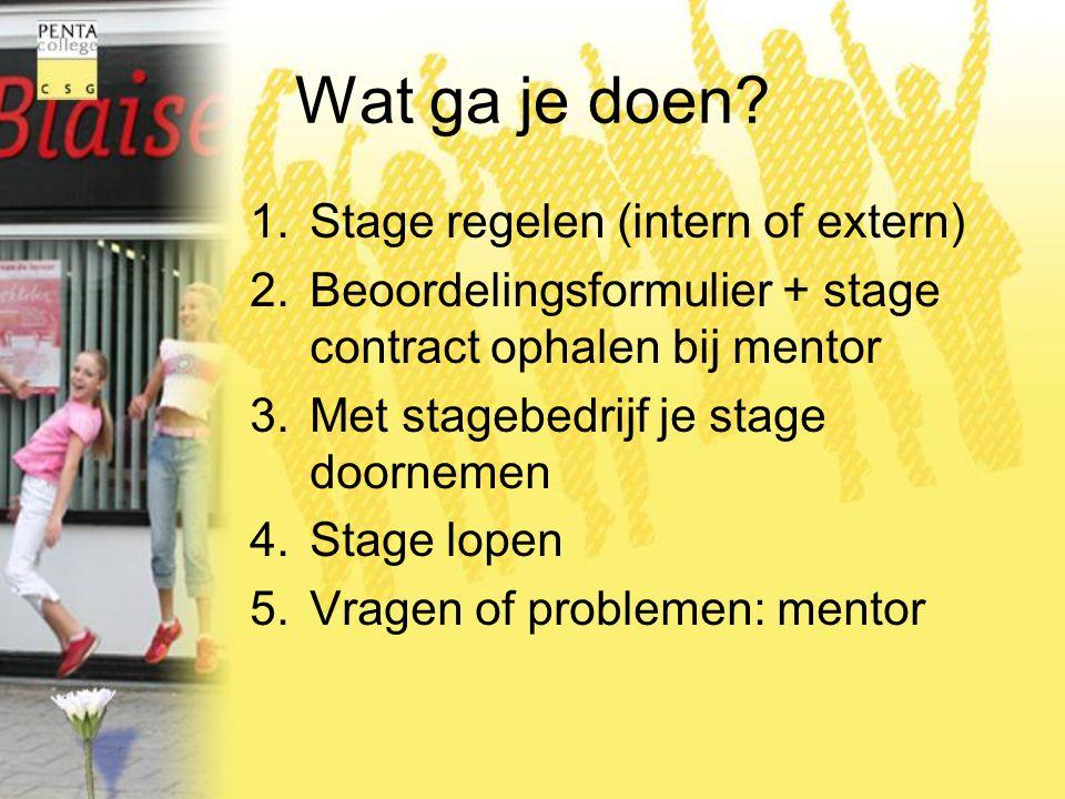 Wat ga je doen Stage regelen (intern of extern)
