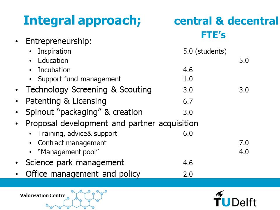 Integral approach; central & decentral FTE's