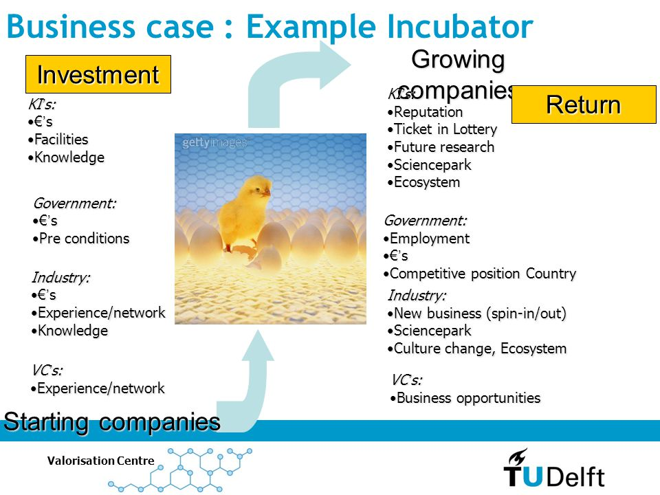 Business case : Example Incubator