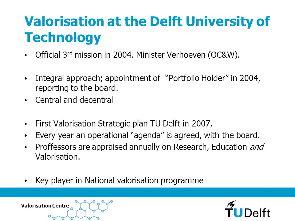 Valorisation at the Delft University of Technology