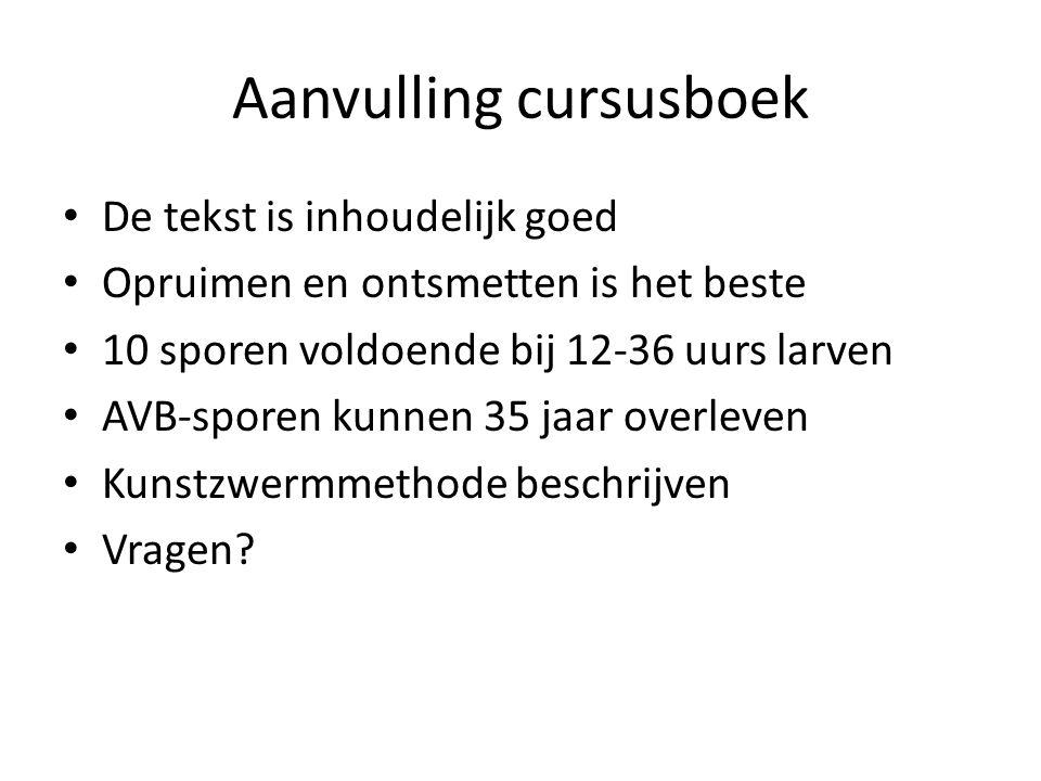 Aanvulling cursusboek