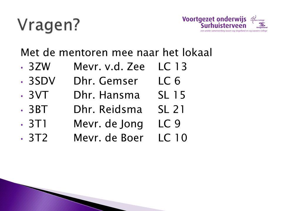 Vragen Met de mentoren mee naar het lokaal 3ZW Mevr. v.d. Zee LC 13