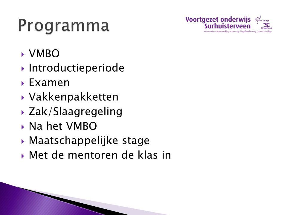 Programma VMBO Introductieperiode Examen Vakkenpakketten