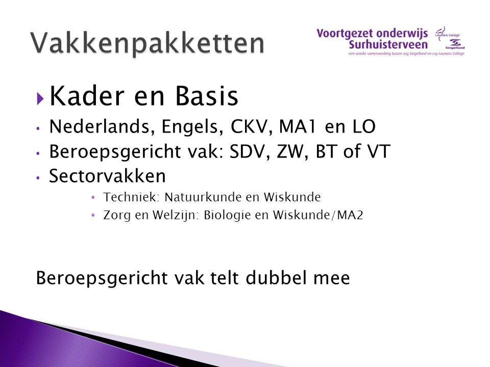 Vakkenpakketten Kader en Basis Nederlands, Engels, CKV, MA1 en LO
