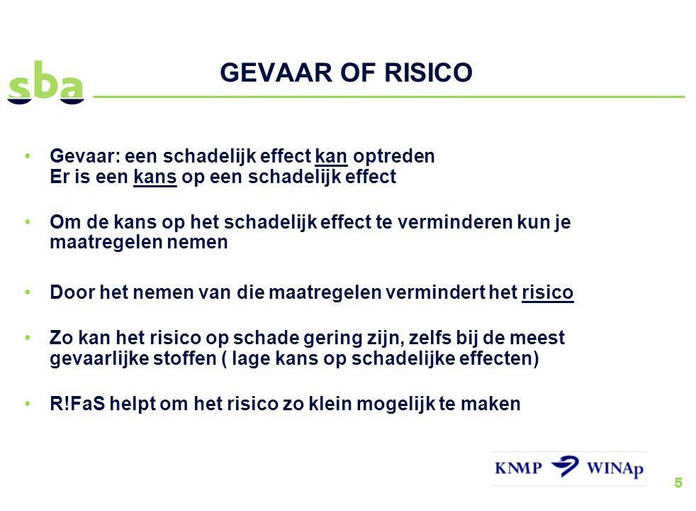 GEVAAR OF RISICO Gevaar: een schadelijk effect kan optreden Er is een kans op een schadelijk effect.