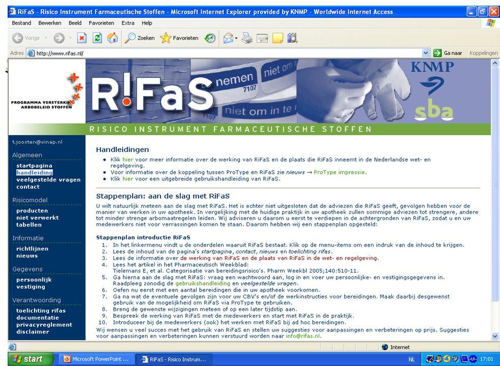 En nu dus RiFaS We gaan nu naar het hoofdstuk algemeen. Behalve de startpagina staat daar in het menu ook handleiding: