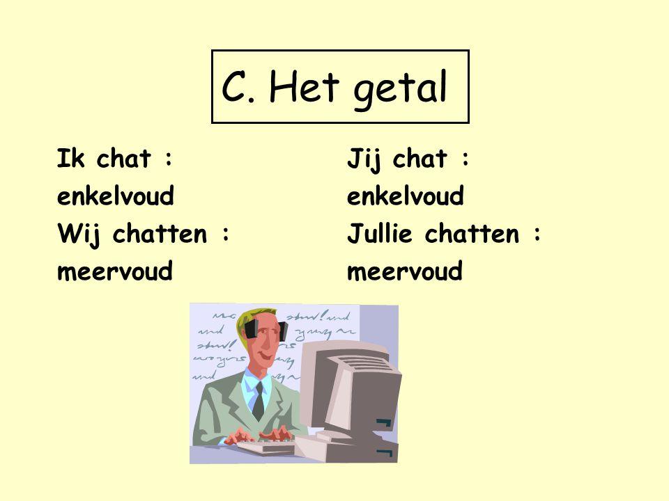 C. Het getal Ik chat : enkelvoud Wij chatten : meervoud Jij chat :
