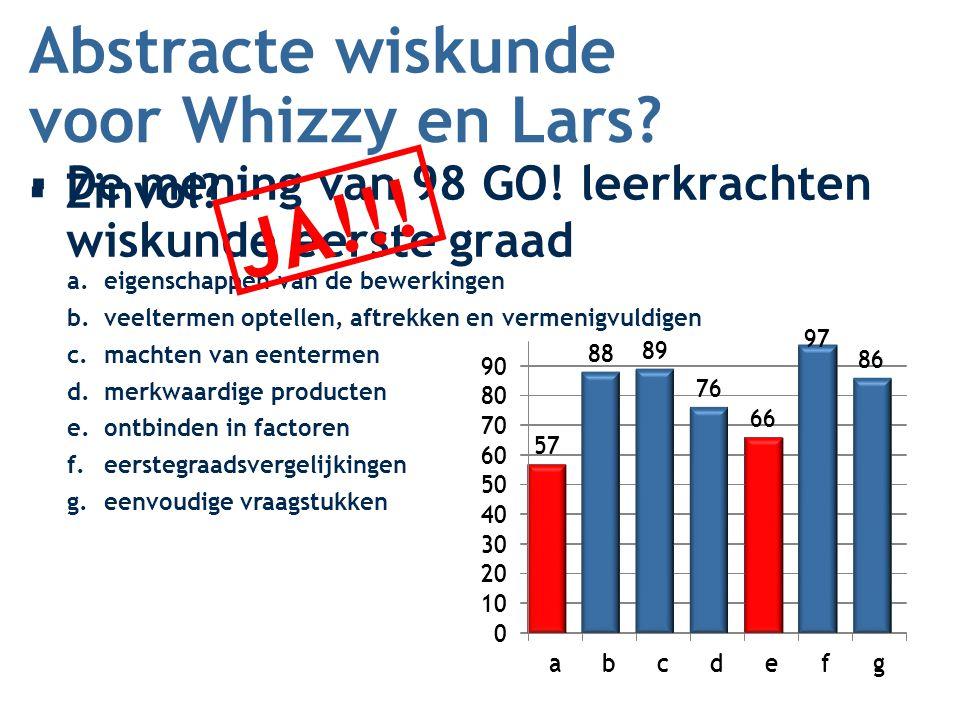 JA !!! Abstracte wiskunde voor Whizzy en Lars